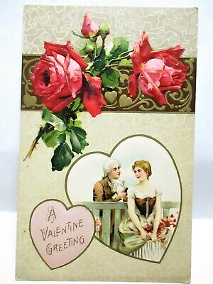 1910 POSTCARD A VALENTINE GREETING, COLONIAL COUPLE IN HEART, RED ROSES