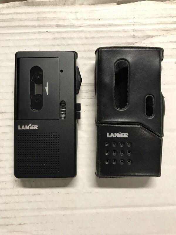 Lanier P-165 Micro Cassette Portable Recorder With Original Leather Case Wor