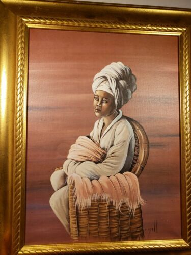 ELAINE DUNGILL AFRICAN Lady Sitting With Child 1999 Framed CANVAS PAINTING Print - $85.95