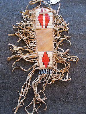 QUILLED BEADED KNIFE SHEATH, PARFLECHE SHEATH,  NATIVE AMERICAN INDIAN DU-01233