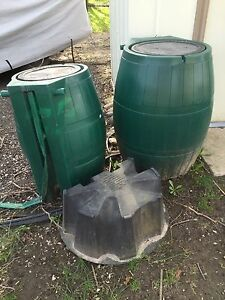 2 rain barrels and one stand available for pickup