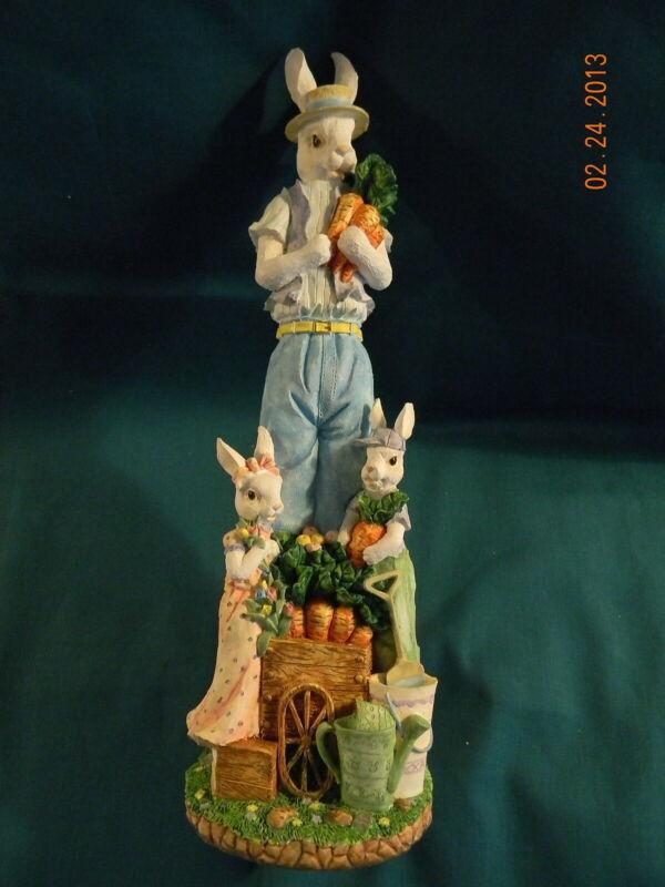 Easter Decoration - Tall Rabbit & Bunnies (Resin) - Tabletop Decor
