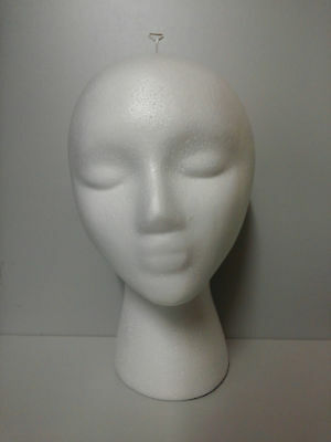 Free T-pin Foam Head Female Styrofoam Mannequin With Wig Hat Display Holder