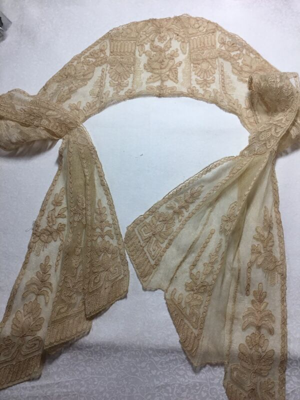 """Antique VINTAGE LACE WOMENS COLLAR 47"""" Long Really Old Victorian Edwardian Scarf"""