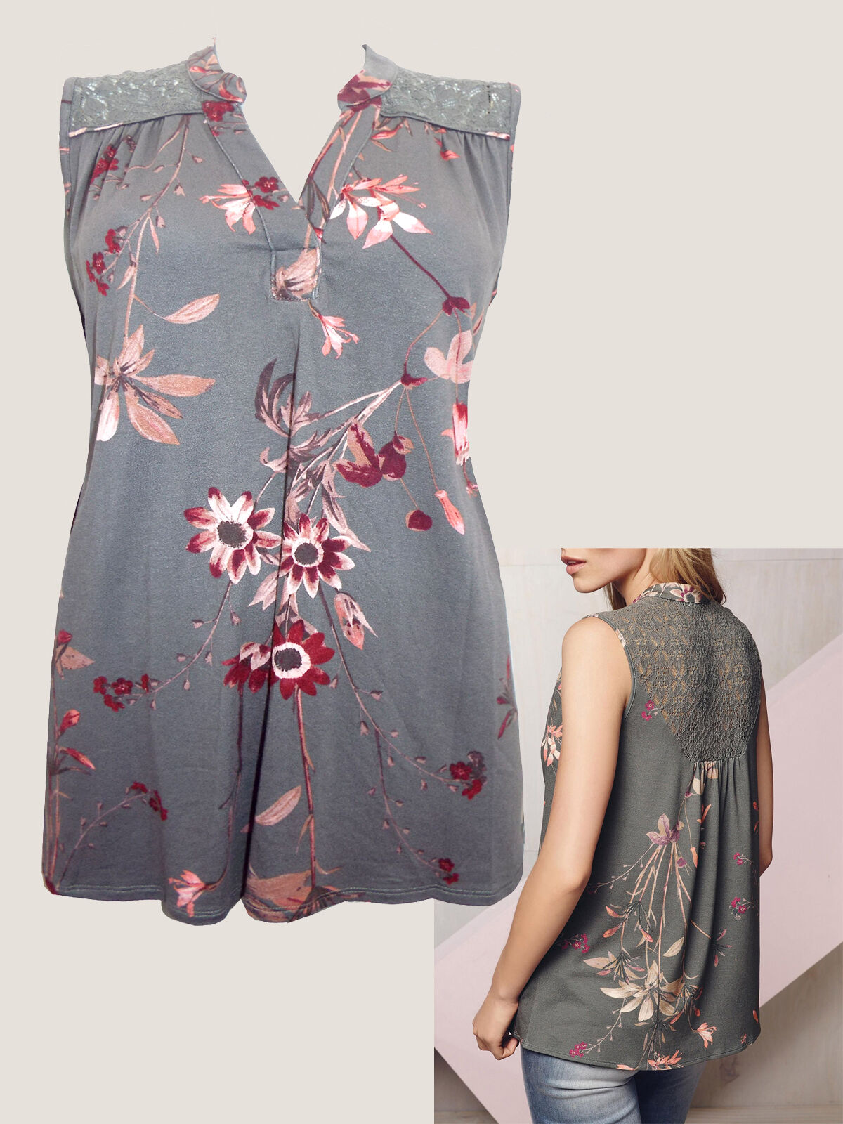 8112080bdce22 New NEXT Grey Floral Lace Sleeveless V Neck Stretch Casual Summer Top Size  8- 22