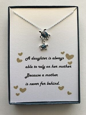 Mother and Daughter Silver Plated Turtle Pendant Necklace w/ love poem/Gift - Mother Daughter Poem