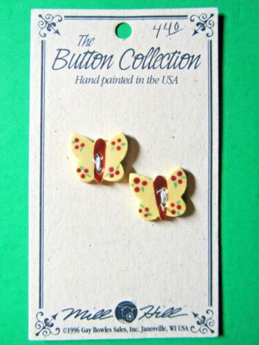 """(2) MILL HILL 5/8"""" YELLOW BUTTERFLY CERAMIC 2-HOLE BUTTONS (B280)"""