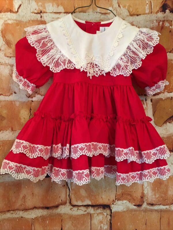 Vintage Lilo California Toddler Girl Red Full Ruffle Dress Floral Lace USA 2T/XL