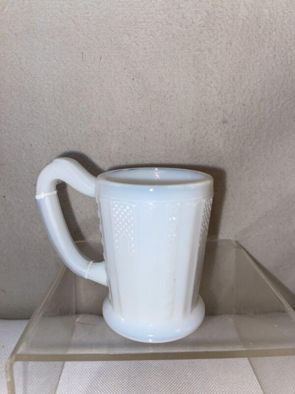 Vtg Antique 1890's Milk Glass Mini Tankard Mug Stein Shot Glass Barware QUEEN'S