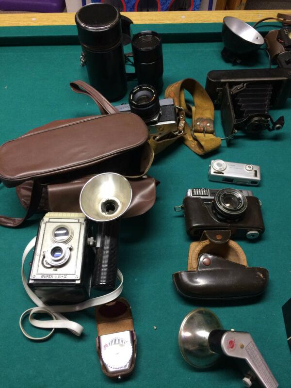 Lot of 12 Antique Cameras and Equipment (Kodak, Minolta, Polaroid and more)