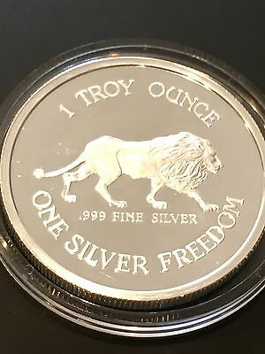 Ultra Rare 1984 Lion   Coeur Dalene Mines 1 Troy Oz  999 Fine Silver Proof Coin