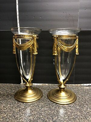 2 Vintage Beautiful Decorative Craft Inc. Art Glass Vase With Solid Brass Base - Decor Craft Inc