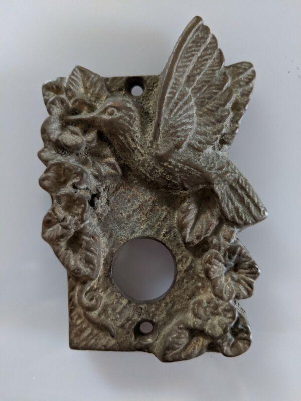 Vintage Door bell cover plate. copper/iron. Hummingbird & flowers