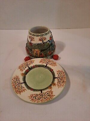 Small Yankee Candle Ceramic Shade / Topper & Plate Harvest Fall Trees Pumpkins