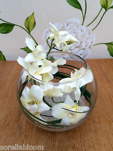 STUNNING CREAM ORCHID & GRASS ARTIFICIAL FLOWER ARRANGEMENT GLASS BOWL IN WATER