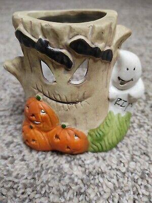 "Halloween ceramic tea light candle holder decoration. Ghost pumpkins 3.5"""
