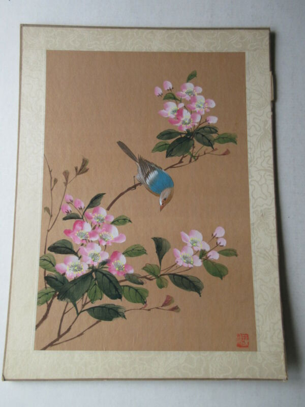 VINTAGE Chinese Painting on Silk - Good Condition Bird and Flowers Unframed #3