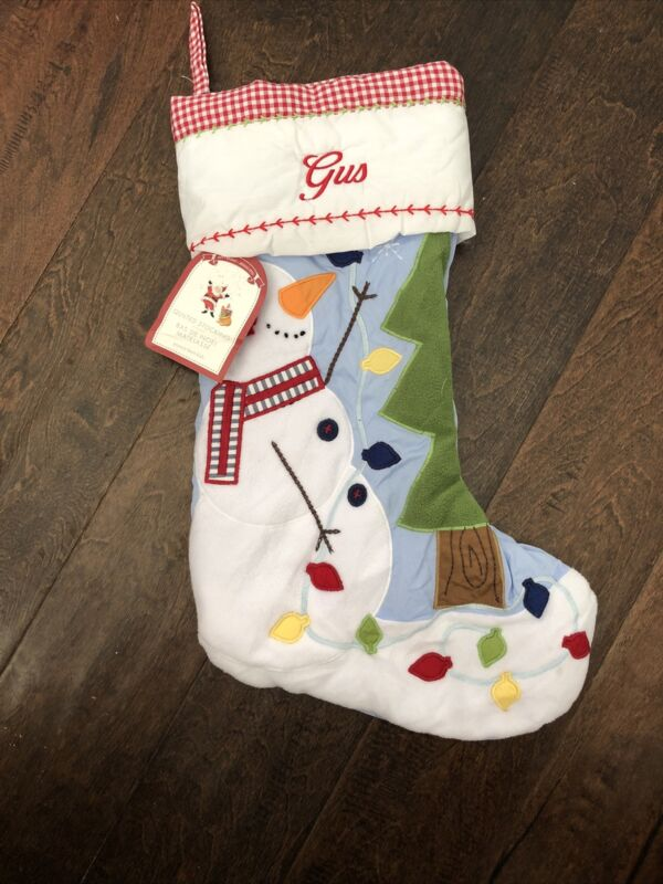 NWT Pottery Barn Kids Blue Gingham Quilted Snowman Christmas Stocking mono Gus