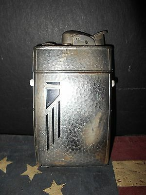 VINTAGE ART DECO HAMMERED SILVER FINISH EVANS CIGARETTE LIGHTER AND CASE COMBO