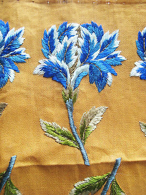 1 Vintage Antique Blue Silk/Metallic Thread Flower Applique Unused Pillow