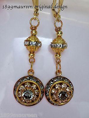 Art Deco Edwardian earrings black diamond crystal vintage drop 1920 Art Nouveau