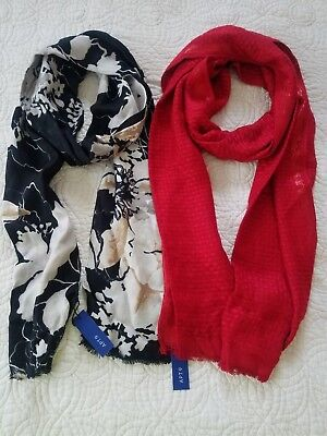 Two Apt. 9 Scarfs - Floral on Black and Red basket weave design,  soft material for sale  Bell