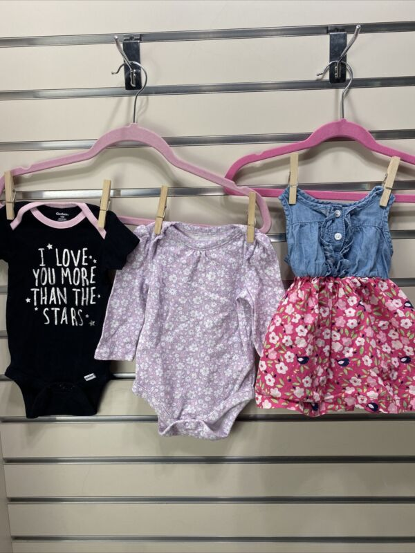 Lot Of Three (3) Baby Girl 3-6m  Clothes One Piece, Dress