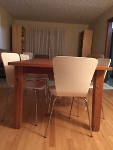 Large solid pine dining table and chairs