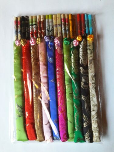 Gift: Chinese Wooden Reusable Chopsticks 10 Gift Sets with Silk Holder for Each