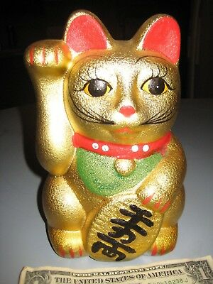 8  Gold Meneki Neko Lucky Cat Piggy Bank Right Paw Wealth Prosperity Cash