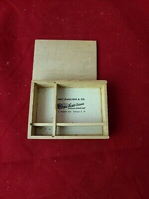 Vintage 1920s-1930s Henry Paulson Co Pocket Watch Wood Advertising Box Dovetail