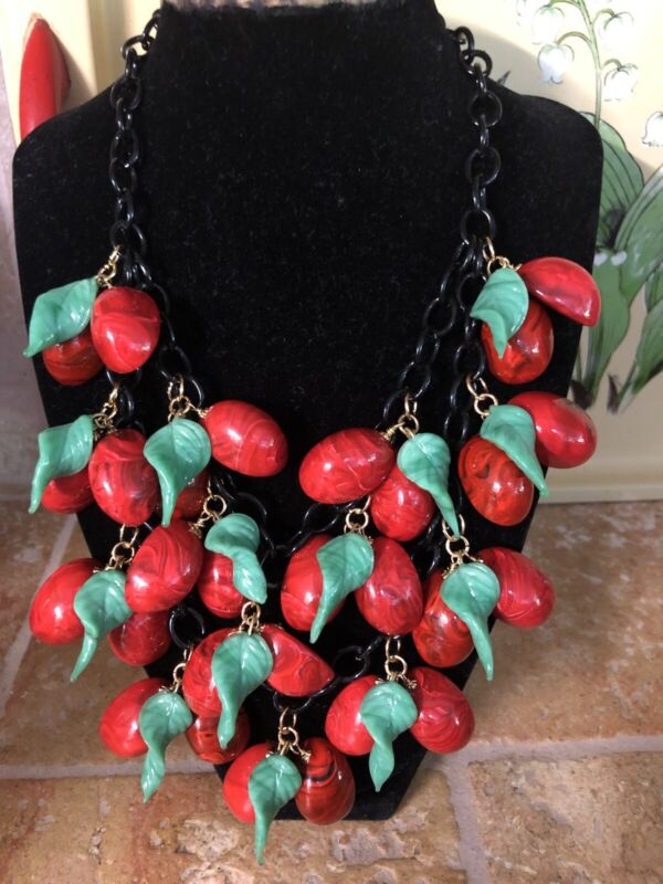 Faux Bakelite Red Cherry Oval Marbled Lucite W/ Glass Leaves. 2 Strand Necklace