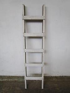 D4079 Rustic White Timber Ladder Kitchen Pots Pans Hanger Mount Barker Mount Barker Area Preview
