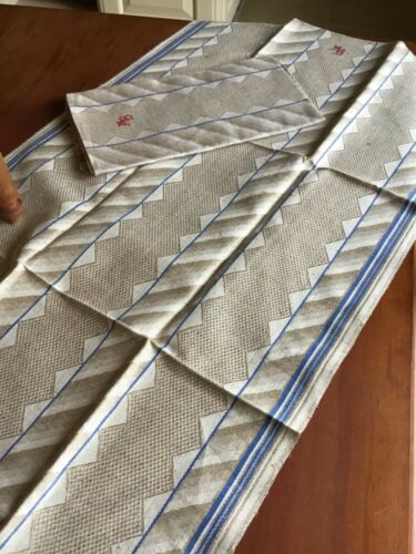1930s German Damask Linen kitchen/tea towel/runner w/initials extra long 44 1/2""