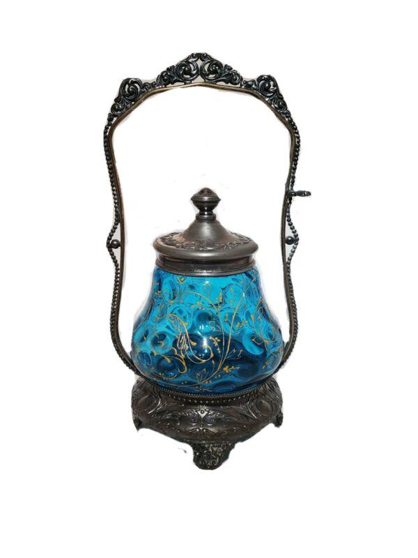 Antique VICTORIAN BLUE GLASS PICKLE RELISH SILVER CASTOR JAR PAINTED GOLD FLOWER