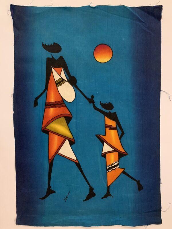 Kenya Batik Mother And Child African Textile Art Blue 17x25 Inch