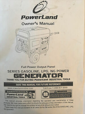 Powerland Portable Tri Fuel Trifuel Generator 4400w Owners Manual
