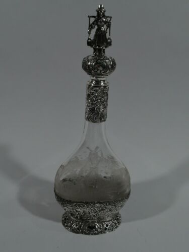 Antique Decanter - Country Windmill Hanau - German 800 Silver Glass - C 1910