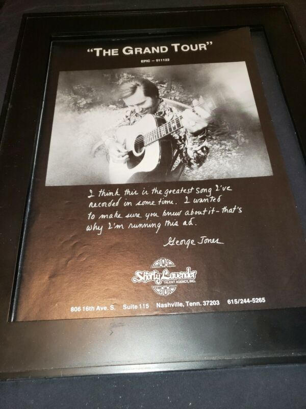 George Jones The Grand Tour Rare Original Promo Poster Ad Framed!