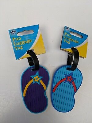2 x Flip Flop Travel Suitcase Luggage Tags - Name and Address Purple Blue