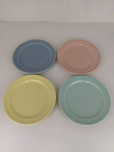 Vintage LuRay Plates Set of 4, 1 Each Color