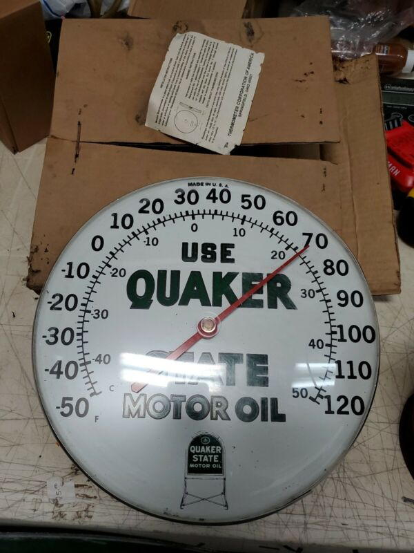 Vintage Quaker State Motor Oil Gas Service Station Advertising Thermometer Sign
