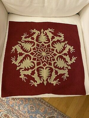 NWOT Pottery Barn Reindeer Trees Wreath Embroidered Pillow Cover 20x20 Christmas
