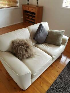 2 seater beige leather freedom lounge