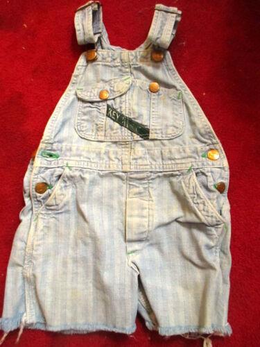BOYS GIRLS 5 6 Vtg 70s Cut off  KEY IMPERIAL HBT DENIM JUMPER FARM OVERALLS USA