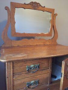 Antique Highboy Hatbox dresser with beveled mirror