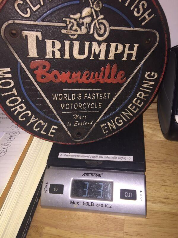 """Triumph Bonneville Motorcycle Plaque Solid Cast Iron Patina Finish  3+ Lb 9"""" Ex"""