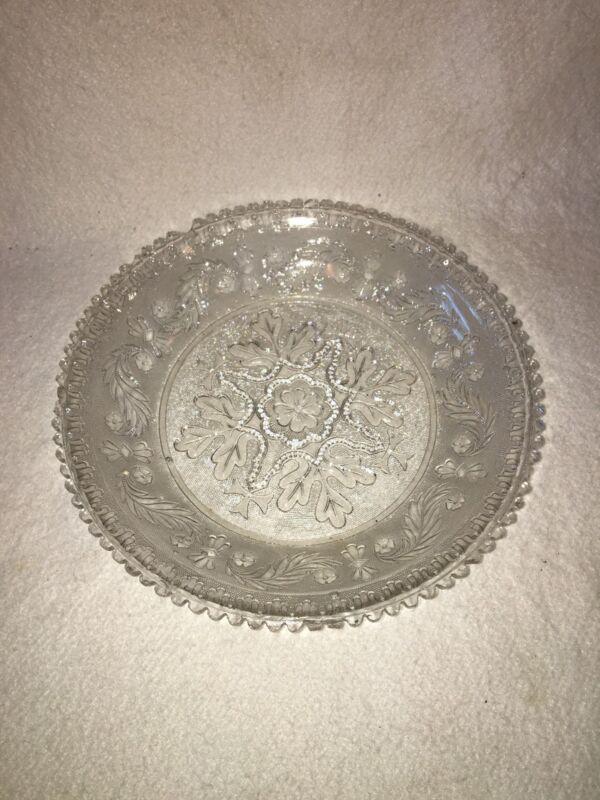 Antique EAPG Sandwich Lacy Glass Large Bowl Scarce Size Maple Leaf Ca. 1850