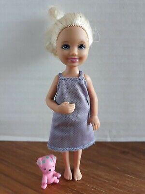 "Barbie accessory CHELSEA 5.5"" MINI DOLL house toy purple dress pink pet dog"