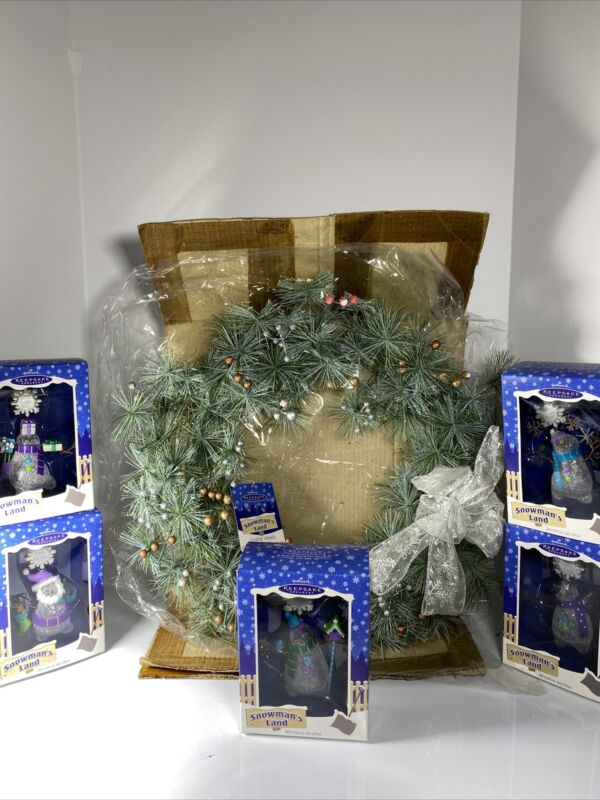 Hallmark Keepsake 2003 Snowman's Land Complete Set With Wreath NWT SEE PHOTOS